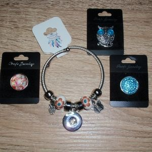 18mm Snap Bracelet with 3 charms Owl Flower Bundle